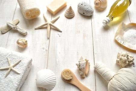 Natural spa supplies with shells