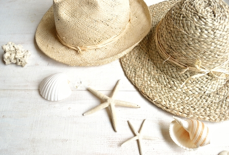 honey moon: Straw hat,panama hat with shells