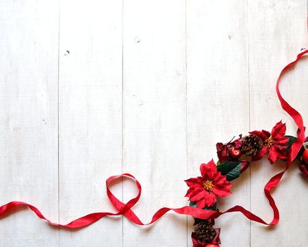 Christmas wreath with red ribbon photo