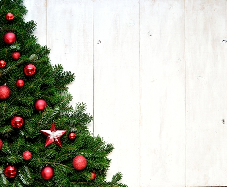 Red ornaments Christmas tree Stock Photo