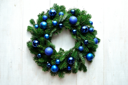 Blue ornament balls Christmas wreath Stock Photo