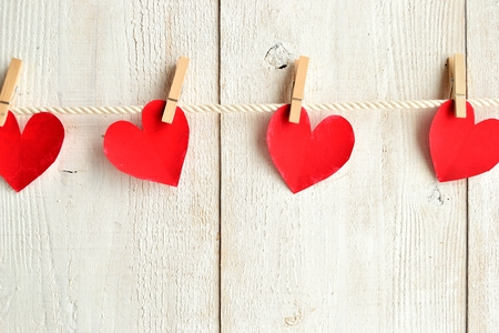 clothes pin: Red heart paper cut out with clothes pin