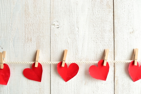 paper pin: Red heart paper cut out with clothes pin