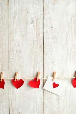clothes pin: Red heart message card and red heart with clothes pin