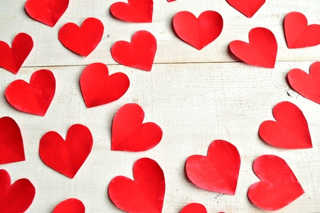 love shape: Red heart paper cut out background Stock Photo
