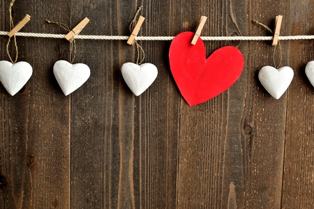heart heat: Red heat and white heart ornaments with clothes pins