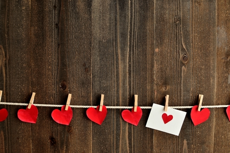 clothes pins: Red heart message card and red hearts with clothes pins