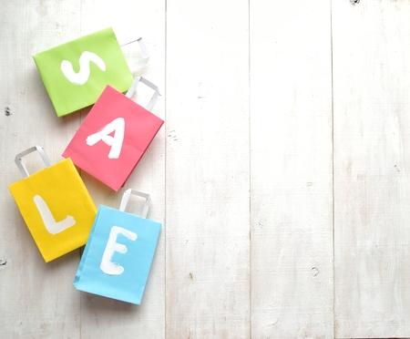 Pastel colors bargain sale shopping bags