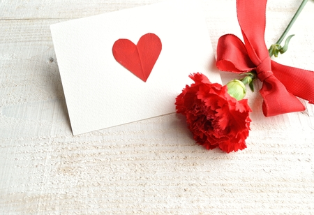 Single red carnation with message card