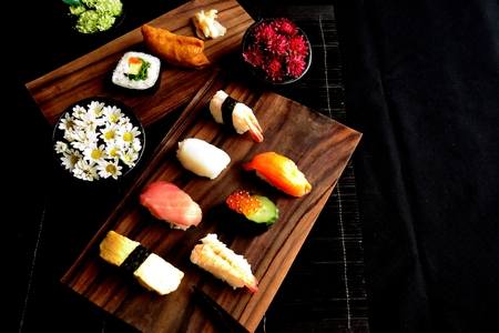 chrysanthemums: Assorted sushi with chrysanthemums