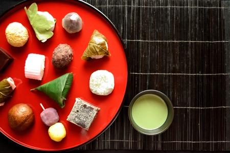 maccha: Japanese cake with green tea Stock Photo