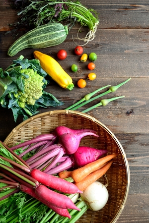 Colorful root vegetables with zucchini