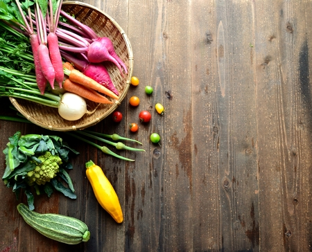 root vegetables: Colorful root vegetables with zucchini
