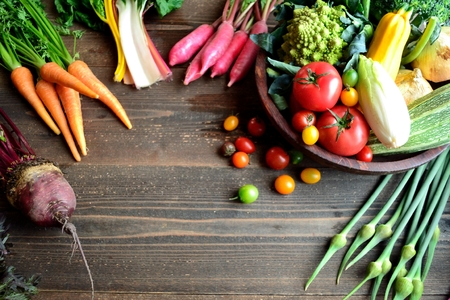 Root vegetables with summer vegetables