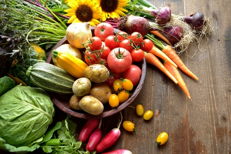 해바라기가있는 여름 야채