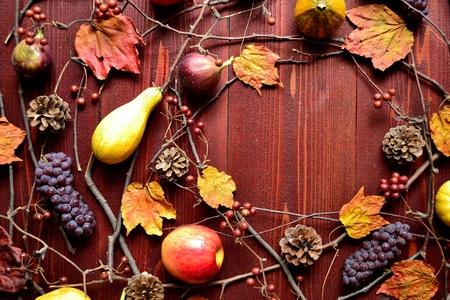 Autumn fruits,pumpkins and autumn leaves