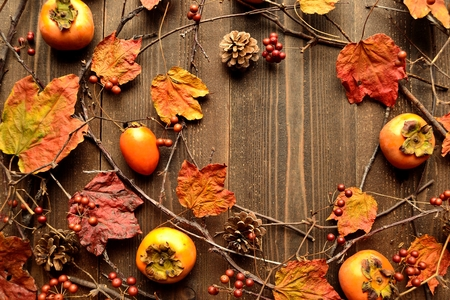 autumn food: Persimmons,pine cones and autumn ivy leaves Stock Photo
