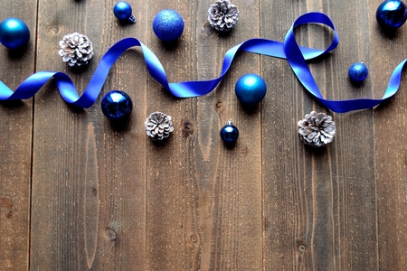blue christmas: Blue Christmas ornaments with ribbon