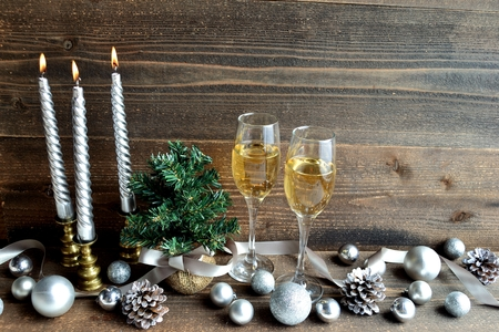 silver flute: Silver Christmas decoration with champagne glass Stock Photo