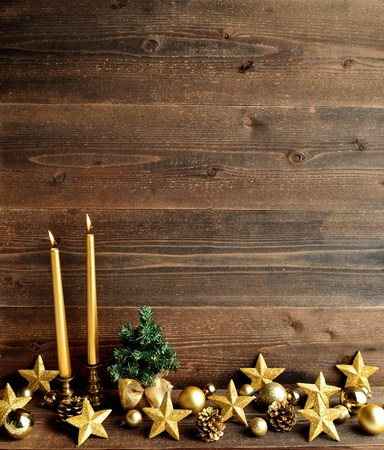 tree decorations: Gold Christmas ornaments with Christmas tree