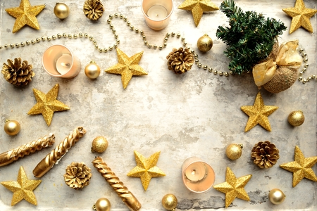 shaped: Gold star shaped ornaments and Christmas tree