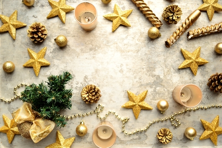star shaped: Gold star shaped ornaments and Christmas tree