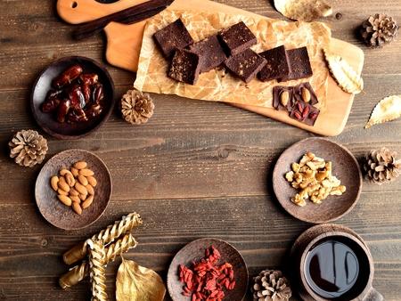 Raw chocolate brownie on the cutting board