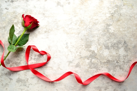 A single red rose with heart shaped ribbon