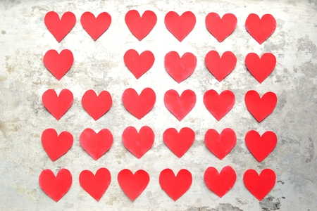 cut paper: Red heart paper cut out background Stock Photo