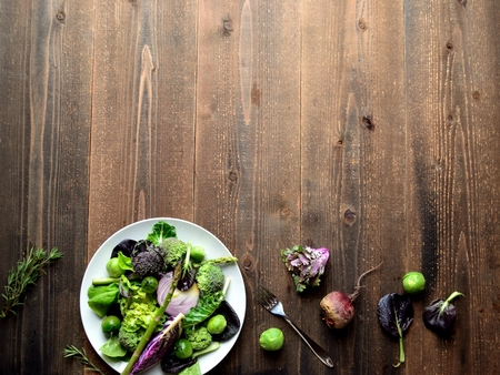 green and purple vegetables: Purple and green spring vegetables salad Stock Photo