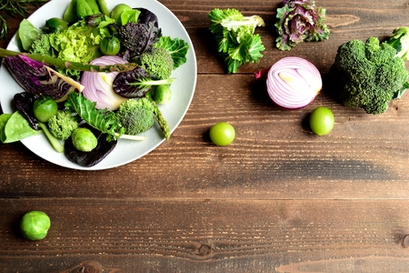 Purple and green spring vegetables salad Stock Photo