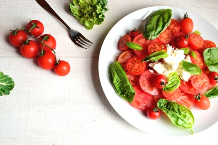 cottage cheese: Tomatoes, cottage cheese and basil leaves salad