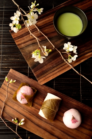 maccha: Cherry flavored Japanese sweets and green tea and cherry blossoms