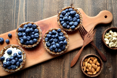 Blueberry tarts with nuts