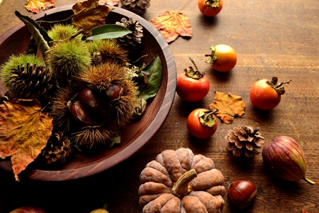 Chestnuts, persimmons, pumpkin and fall leaves