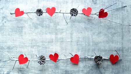 Red heart shaped paper cut out and pine cones