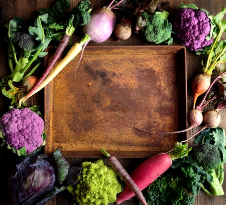 romanesco: Purple and green vegetables with rusty tray