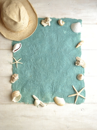 White mens hat with shells.frame Banco de Imagens