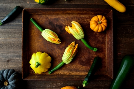 Zucchini with pumpkin on the rusted tray.frame Stock Photo
