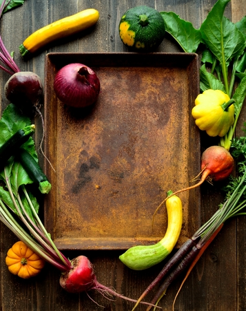 Zucchini, beets and rusted tray
