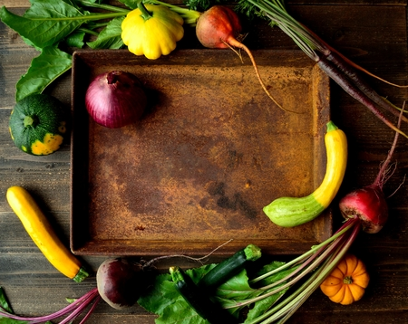 Zucchini, beets and rusted tray Banco de Imagens - 81084722