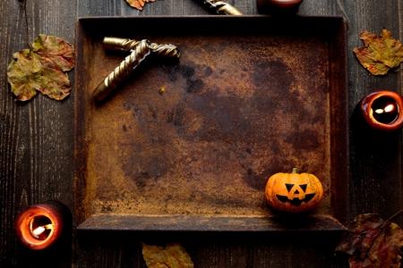Halloween pumpkin on the rusted tray Stock Photo