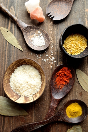 Indian food ingredients on the wooden background