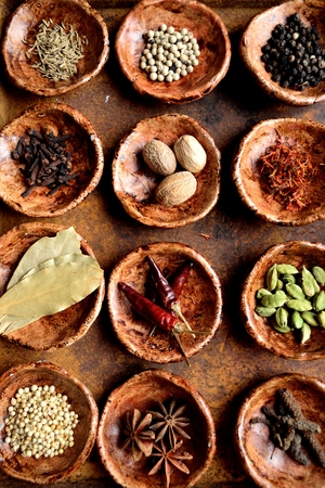 Spices on the small dishes