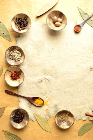 Spices on the old paper