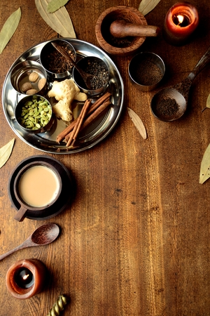 Chai tea and spices on stainless dish 写真素材 - 105741610