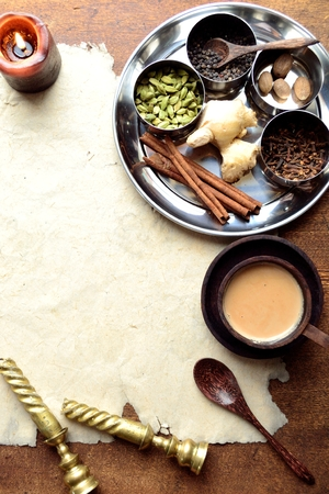 Chai tea and spices on stainless dish