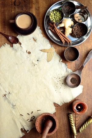 チャイティーと古紙のスパイス 写真素材