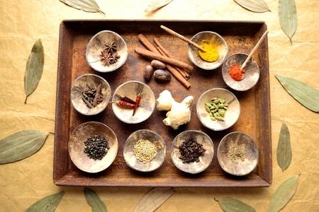 錆びたトレイにインド食材