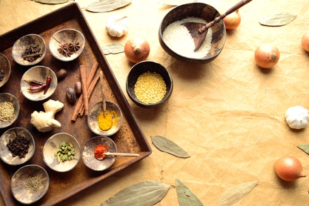 Indian food ingredients on the rusted tray Stock Photo